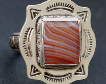 Lake Superior Agate Argentium Sterling Silver Ring Handmade NEW - Beautiful Colors Candy Striper