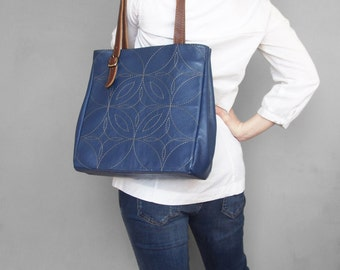 Leather tote bag. Blue leather tote. Tote bag leather. Embroidered leather handbag. Leather shoulder bag. Ocean blue leather purse.