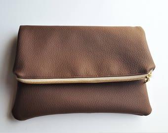Brown Fold-Over Pouch - Clutch - Handbag