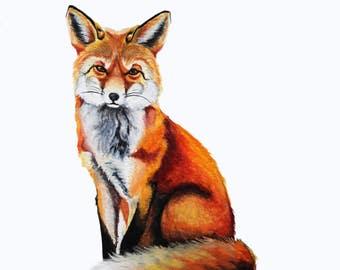 "Fox ORIGINAL PAINTING, Watercolor, Nursery, home decor 7"" x 9"""