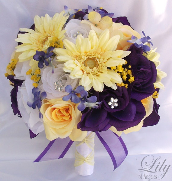 Wedding bouquet bridal bouquet bridesmaid bouquet silk wedding bouquet bridal bouquet bridesmaid bouquet silk flower bouquet wedding flowers 17 piece package purple yellow lily of angeles mightylinksfo Gallery