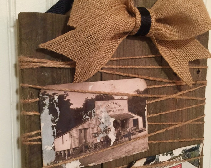 Wood bulletin board picture holder with burlap ribbon
