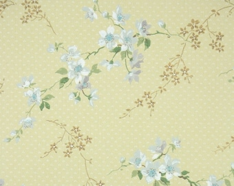 1950s Vintage Wallpaper by the Yard - White and Blue Flowers and Branches on Yellow, Floral Wallpaper