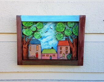 Tiny cottage folk art, pyrography art and watercolor, trio of homes with trees and a big blue cloudy sky, framed, handpainted and woodburned