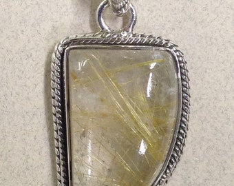 Sterling Silver Golden Rutile Pendant PS-40