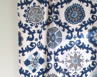 Blue, Curtains, Valance, Indigo, Living, Dining, Bed, Room, Custom, Window, Treatments, Panels, Drapery, Medallion, Family, Floral, Pattern