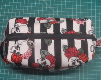 Skulls & Roses Pouch, Steampunk Bag, Zip Pouch, Ditty Bag, Toiletry Kit, Cosmetics Case, Makeup Bag, Travel Case, Gifts for Her, Goth Gifts
