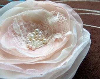 Blush Pink Wedding bridal hair clip, bridal hairpiece, bridal hair flower, vintage wedding flower, rustic bridal, READY TO SHIP