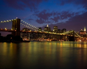 Brooklyn Bridge at Night - New York City Travel Photography - NYC Home Decor - Architecture Inspired - City Icon - Fine Art Photography