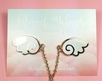 Angel wings enamel pins with chain - white gold wing lapel pin brooch badge flair collar pin hat pin kawaii anime manga japanese fashion