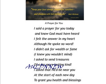 Original Photography Wall Art / A PRAYER FOR YOU Download  Original Photo Art and Special Prayer