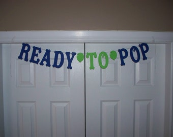 READY TO POP Balloon Letter Banner - Royal Blue & Light Green - Cardstock Paper - Boy Baby Shower - Hanging Decor