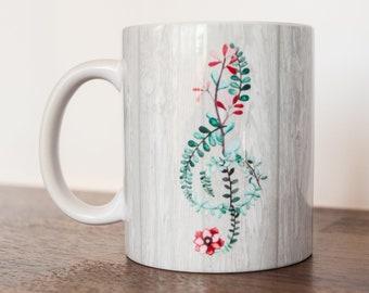 Floral Violinschlüssel Becher Musiker Kaffeetasse 11 Unzen