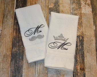 Mr and Mrs Wedding Hand Towels - Can be Personalized with Bride and Groom's Last name - Mr Mustache and Mrs Crown -