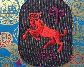 Vintage 70s Deadstock embroidered denim zodiac sign Aries ram patch