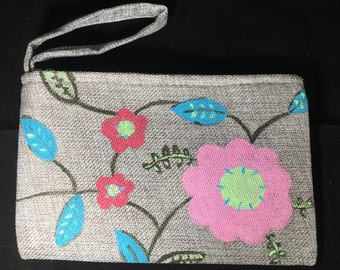 Hand Painted Pink, Teal and Green Flowers on Gray Linen Wristlet