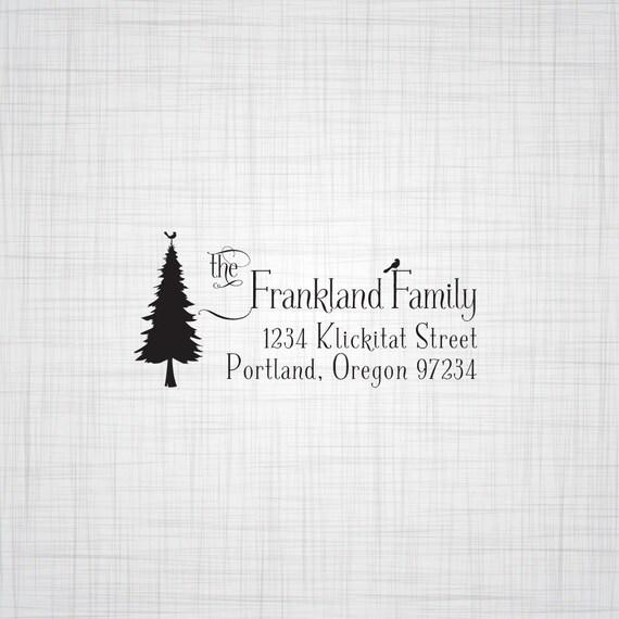 Pine Tree with Birds Family Address Stamp, Personalized Address Stamp, Custom Address Stamp, Rubber Stamp, Self Inking Stamp, Stamper
