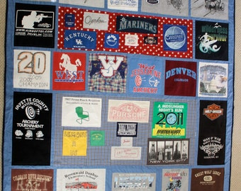 Memory Quilt with T-shirts: Custom Queen Size 100.00 Dollar Down Payment