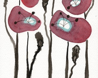 Watercolor Painting: Watercolor Flower Painting -- Art Print --  Red Poppies  -- Scandinavian Flowers -- 5x7