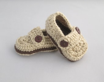 Baby Boy's Handmade Crocheted Loafer Style Booties/ Crocheted Booties/ Baby Loafers/ Baby Booties/ Baby Slip On Shoes/ Brown Booties
