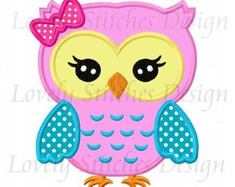 Girl Owl Applique Machine Embroidery Design NO:0623