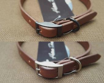 Medium Brown Handmade Leather Dog Collar