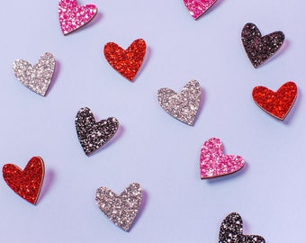 Glitter Heart Pin by Claireabellemakes