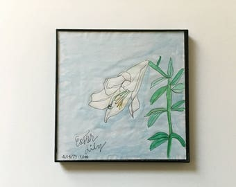 1/100: Easter Lily - original framed watercolor illustration