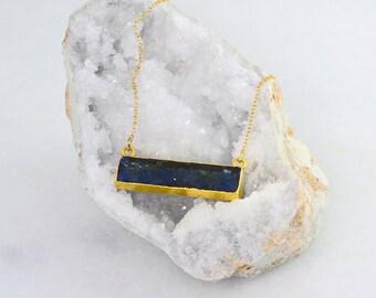 Raw Lapis Necklace - Gemstone Bar Necklace - Rectangle Stone Necklace - Statement Necklace - Raw Stone Necklace