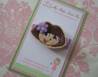 Girl hair clips - Dora hair clips - girl barrettes - no slip clips
