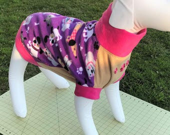 Dogs on Purple with Pink & Tan Fleece Dog Sweater - Large