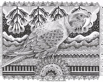 "Tropical Bird Ink Drawing 01 - an 8 x 10"" ART PRINT of a black & white ink drawing of a tropical songbird amidst mountains and starry skies"