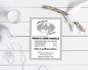 10 Pack Personalized Baby Shower Invites (Batman)