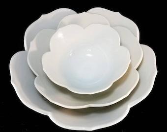 Set of White, Petal-Shaped Pottery Nesting Bowls