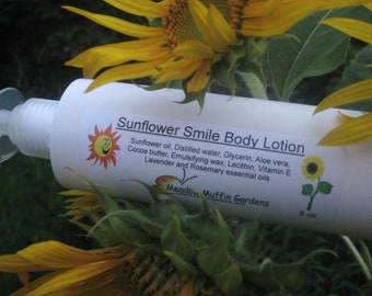 Hand or Body Lotion, Rosemary Lavender Sunflower Smile