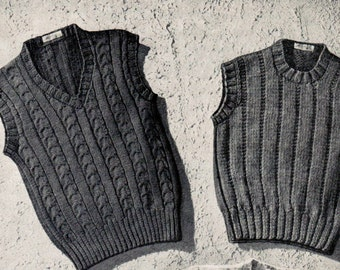 Vintage Boy's Sleeveless Sweaters Knitting Patterns PDF (Set of 4) / Boy's knitted vest pattern / Boys cable vests pattern / PDF pattern