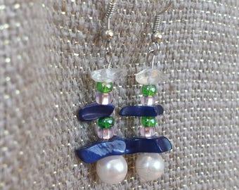 Beaded, Stone beads & faux pearl earrings
