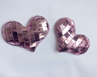 Set of 2 large pink heart appliques with sequins