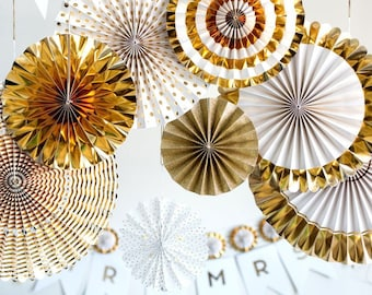 8 pcs Metallic Gold Foil and Gold Glitter Party Paper Fans Set - Mix Patterns - Decorative Fans - For Weddings and Parties