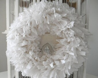 white rag wreath fabric wreath wedding decor cottage chic wreath country chic door wreath wedding wreath rustic decor 15 inch made to order