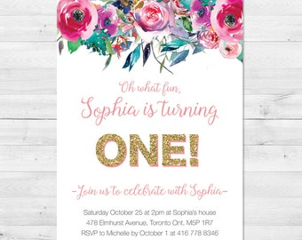 First Birthday Invitation Girl, Pink And Gold Birthday Invitation, Floral Birthday Invitation, Watercolor, Milestone  Birthday