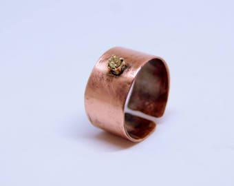 Pure copper ring, Adjustable ring with cubic zirconia, Arthritis ring, Rustic ring, Copper rings, Copper jewellery, Boho ring