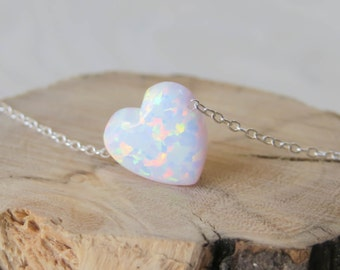 Opal necklace, heart necklace, silver necklace, opal heart necklace, white opal necklace, silver heart necklace, white opal jewelry