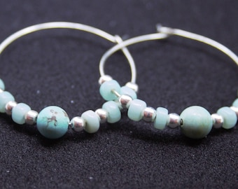 Hoop earrings with semi-precious and silver beads