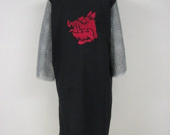 Black Knight Medieval Surcoat with embroidered red boars head, renaissance garb, cosplay, crusades, search for the holy grail, tunic, tabard