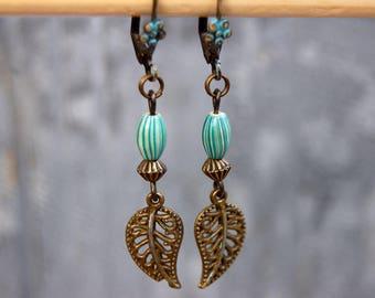 Leaf earrings, Tribal Earrings, Bohemian Earrings, Turquoise Earrings, Dangle Earrings, Boho Jewelry, Ethnic earings, Hippie Gift for her,,