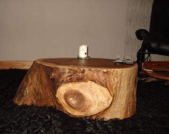 Tree trunk as side table