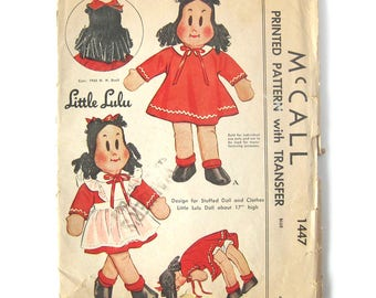 1940s ORIGINAL Vintage Sewing Pattern McCall 1447 - Little Lulu Doll Pattern / not a copy