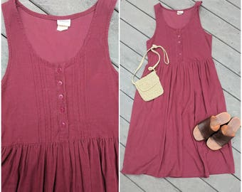 90's Vintage Corduroy Maroon Bib Dress || Jumper, S/M