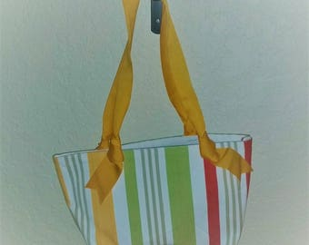 "Striped purse or handbag, Lime green, yellow, red, Durable, 11"" by 9"" with 9"" yellow ribbon handle, fully lined"